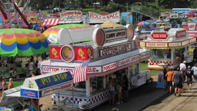 Food Vendors and midway at Afton Fair